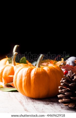 Autumn pumpkin, pine cone and leaves. Selective focus. With copy space. - stock photo