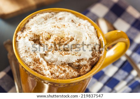 Autumn Pumpkin Spice Latte with Milk and Cream