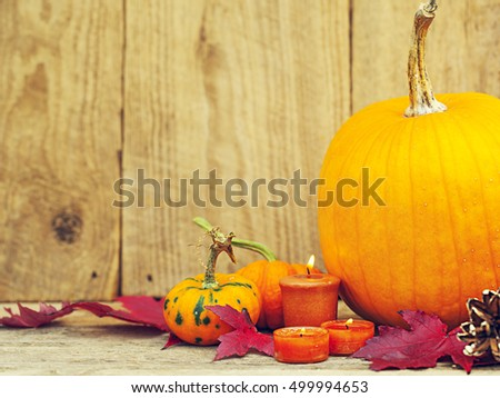 Autumn pumpking thankgiving decoration card
