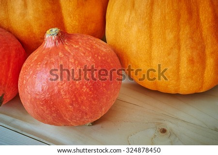 Autumn red and orange pumpkins on a wooden background in a rustic style. Beautiful autumn Pumpkins Halloween background with place for text