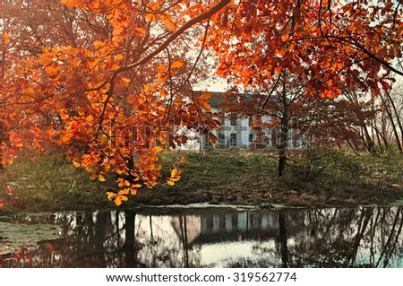 Autumn red trees near the pond and old house on the background in sunny weather -autumn landscape, soft focus processing