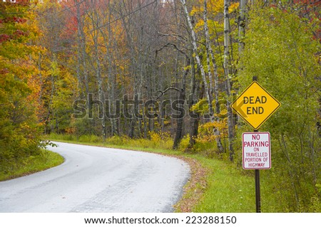 Autumn road in Vermont, United States. - stock photo