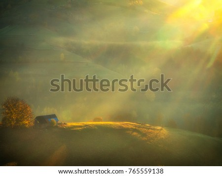 Transylvania Mountains Stock Images RoyaltyFree Images Vectors - This man hikes up the transylvanian mountains every morning to photograph sunrise