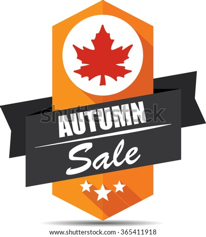 Autumn sale label and sign. - stock photo