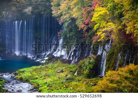 Autumn scene of Shiraito waterfall in the southwestern foothills of Mount Fuji, Shizuoka, Japan