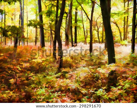 Autumn scene of the colorful woods in the Poconos of Pennsylvania - transformed into a colorful digital painting - stock photo