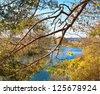 Autumn scene. River Protva. Kaluga region. Russia - stock photo