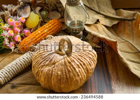Autumn scene with pumpkins leaves and a corns .vintage stiled - stock photo