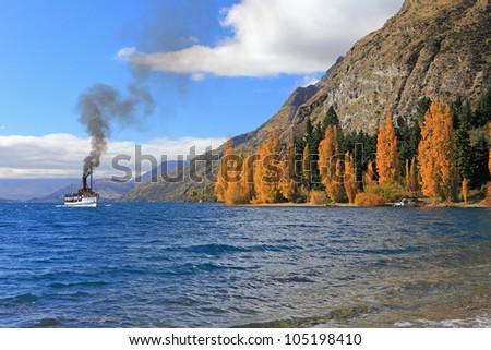 Autumn scenery at the Wakatipu lake Queenstown Southern island New Zealand - stock photo
