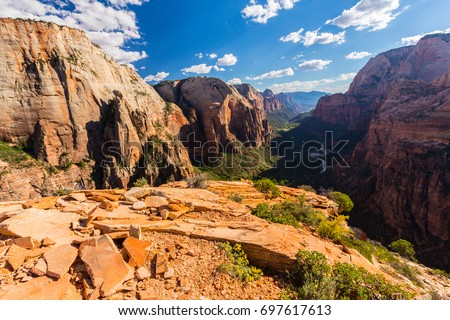 Autumn scenery in Zion National Park, with red sandstone rocks
