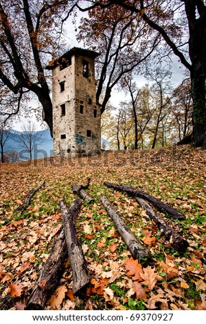 autumn scenery with old tower