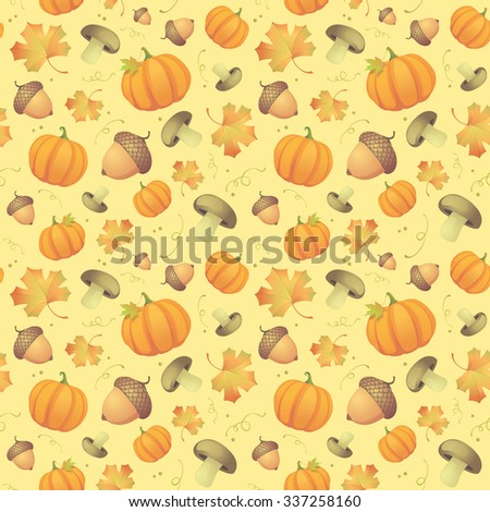 Autumn seamless background with leaves, acorns and pumpkins, rasterized version. - stock photo