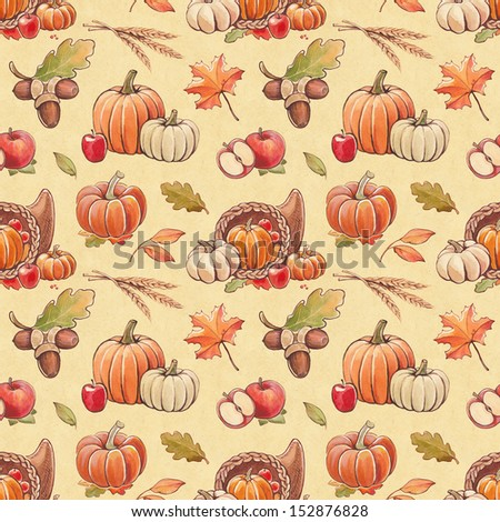 Autumn seamless pattern with harvest illustrations - stock photo