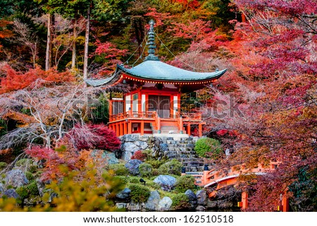 Autumn season,The leave change color of red in Tample japan. - stock photo