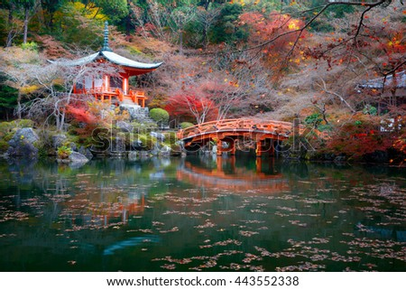 Autumn season, The leave change color of red in Temple japan, Daigoji Temple, Kyoto Japan - stock photo
