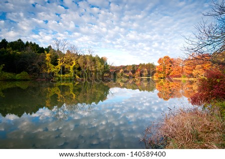 Autumn Skies An autumn sky is reflected in the calm surface of Lake Marmo, Morton Arboretum, Lisle, IL. - stock photo