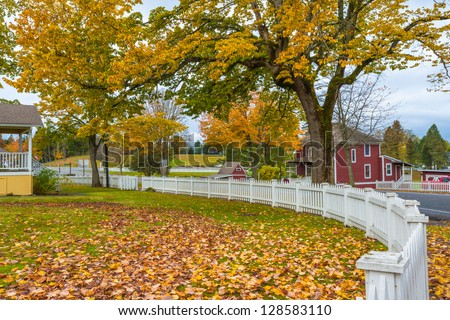 Autumn small town America - stock photo