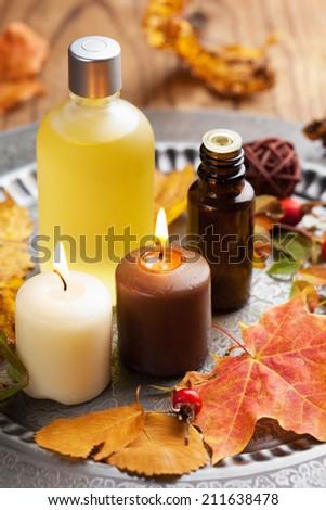 autumn spa and aromatherapy - stock photo