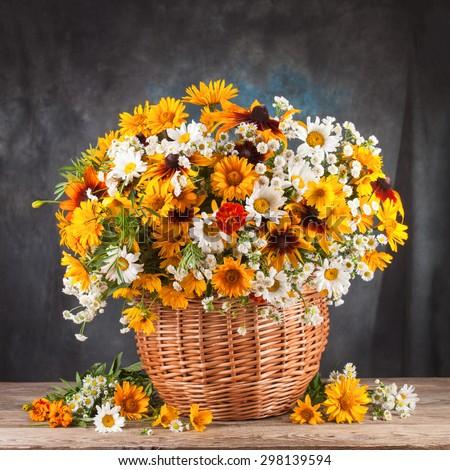 Autumn still life. Flower, fruit and vegetables. - stock photo