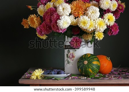 Autumn still life with chrysanthemums in the tin, plums and pumpkins on a dark green background.
