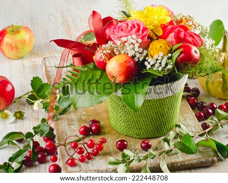 Autumn still life with  fruits . Selective focus - stock photo