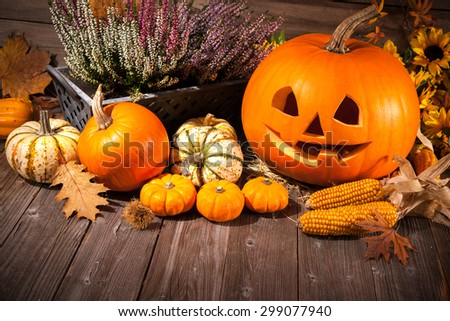 Autumn still life with Halloween pumpkins on old wooden background - stock photo