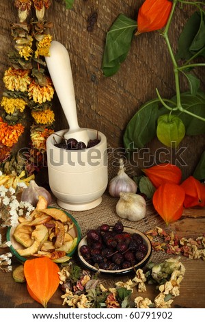 Autumn still-life with mortar, dried fruits and dry flowers - stock photo
