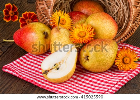 Autumn still life with pears and yellow flowers on rustic background - stock photo