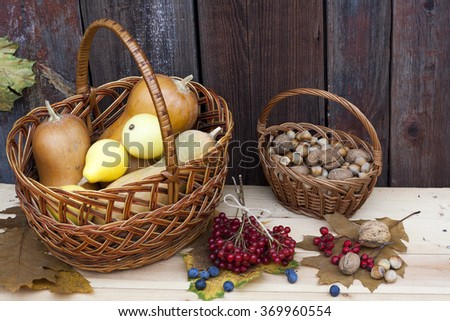 Autumn still life with pumpkins in basket and autumn berry on old wooden background, closeup - stock photo