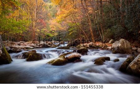Autumn stream in the smokey mountains national park - stock photo