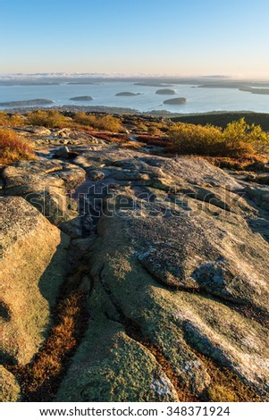 Autumn Sunrise from Cadillac Mountain in Maine - stock photo