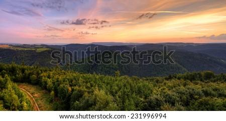 Autumn Sunrise in Orlicke hory panorama, Czech republic - stock photo