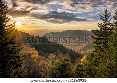Autumn sunrise over Newfound Gap overlook in the Great Smoky Mountains - stock photo