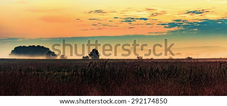 Autumn Sunrise Rural Landscape Panorama. Lovely popping vibrant colors in the fall at dawn in Bavaria, Germany - stock photo