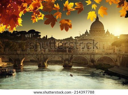 autumn sunset and St Peter Basilica in Vatican - stock photo