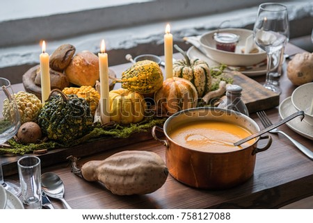 Autumn table setting with pumpkins. Thanksgiving holiday dinner and fall decoration. & Autumn Table Setting Pumpkins Thanksgiving Holiday Stock Photo ...
