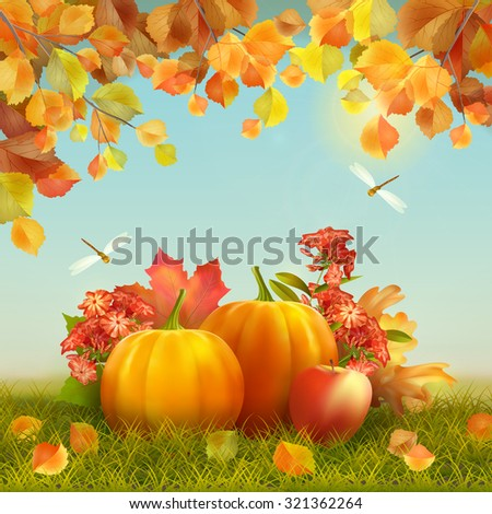 Autumn Thanksgiving Card with harvest, grass, fallen leaves, tree branches, dragonfly