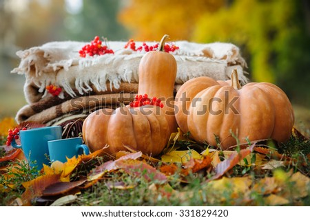 Autumn thanksgiving romantic still life with stacked plaids, pumpkins, apples, berries and coffee cups - stock photo