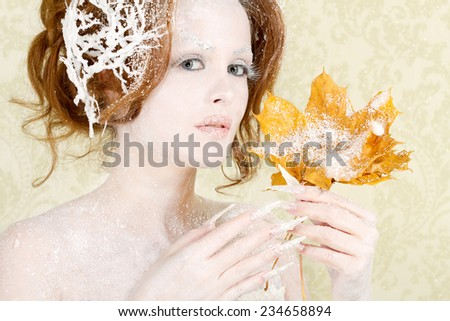 Autumn to winter woman concept  - stock photo