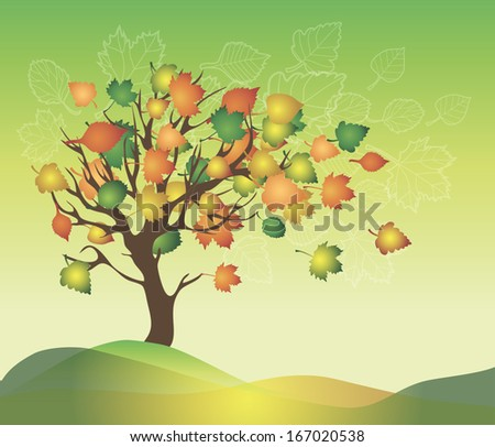 Autumn tree with leaves fly away in the wind