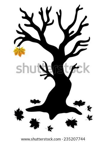 Autumn Tree with the last leaf - Stock Illustration - stock photo