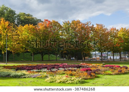 Autumn trees in the garden, The Netherlands - stock photo