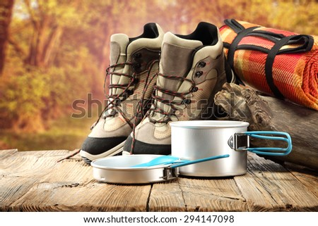 autumn trip and desk space  - stock photo