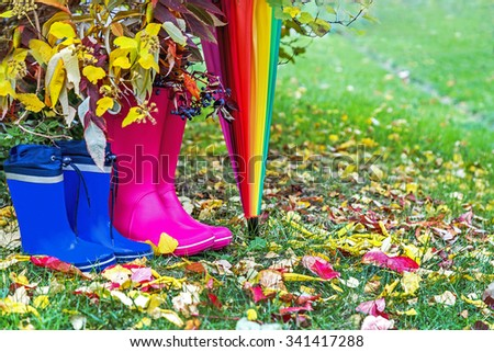 Autumn. Two pairs of rubber boots and colorful umbrella with autumnal leaves. Pairs of pink (adult) and blue (child) rainboots. Protection in the rain. Copy space. Activity, leisure, travel concept. - stock photo