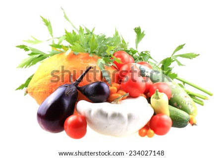 autumn vegetable isolated on the white background - stock photo