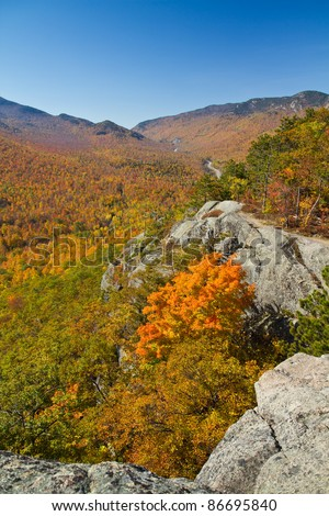 Autumn view from the top of Owl's Head mountain in Keene, NY - stock photo