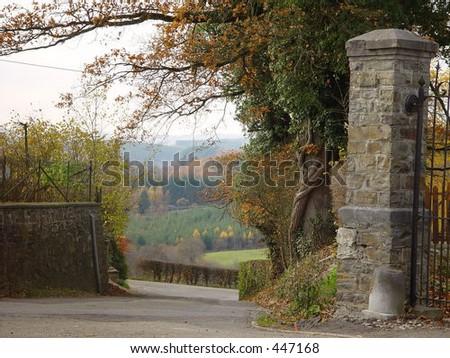 Autumn view in the Ardennes, Belgium - stock photo