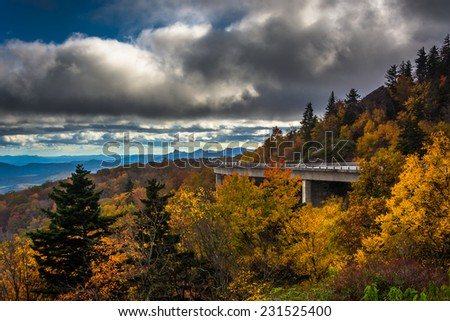 Autumn view of Linn Cove Viaduct, on the Blue Ridge Parkway, North Carolina. - stock photo