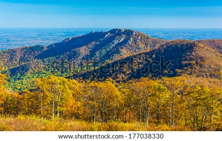 Autumn view of Old Rag, in Shenandoah National Park, Virginia. - stock photo