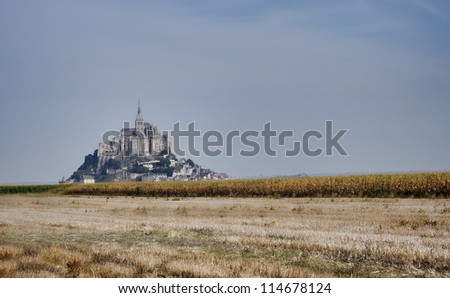 autumn view of Saint Michel castle, France - stock photo